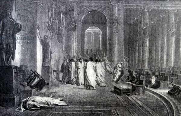Engraving depicting the death of Julius Caesar
