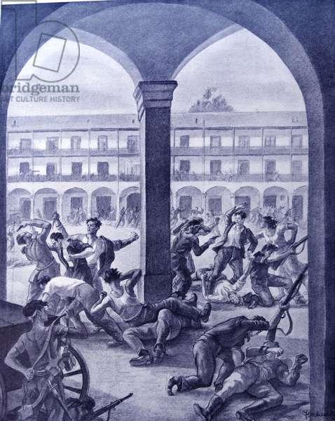 Propaganda Illustration showing street fighting