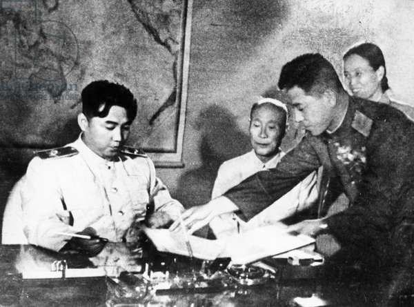 Marshal Kim Il Sung signing the Korean Armistice Agreement and the Temporary Agreement Supplementary to the Armistice Agreement at 10pm on July 27, 1953