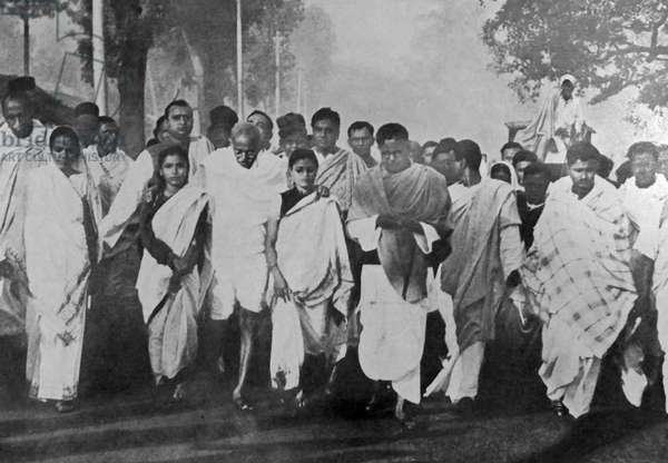 Mohandas Karamchand Gandhi with supporters on a Peace March during the Partition period following Indian Independence 1947