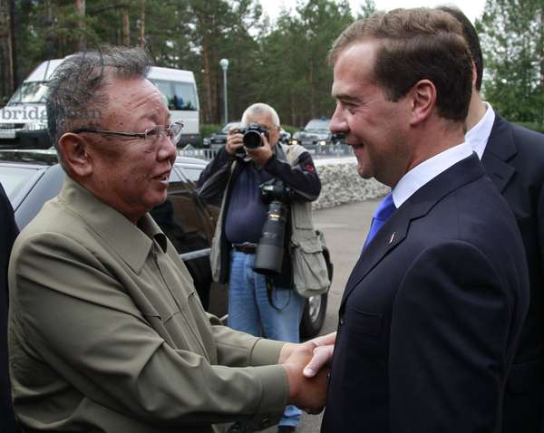 Ulan-Ude, Russia, August 24, 2011, Russia'S President Dimitry Medvedev (R) Welcomes Kim Jong-Il (Kim Jong Il), the Leader of the Democratic People'S Republic of Korea (North Korea), the Chairman of the National Defense Commission, General Secretary of the Workers' Party of Korea, in Ulan-Ude.