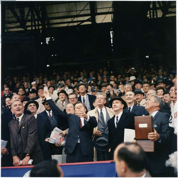 President J F Kennedy throwing the first ball on opening day of the 1961 Baseball season