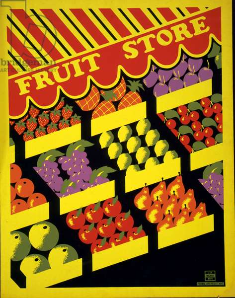 Fruit store(poster). A silkscreen published between 1936 and 1941. Poster showing different kinds of fruit in store.