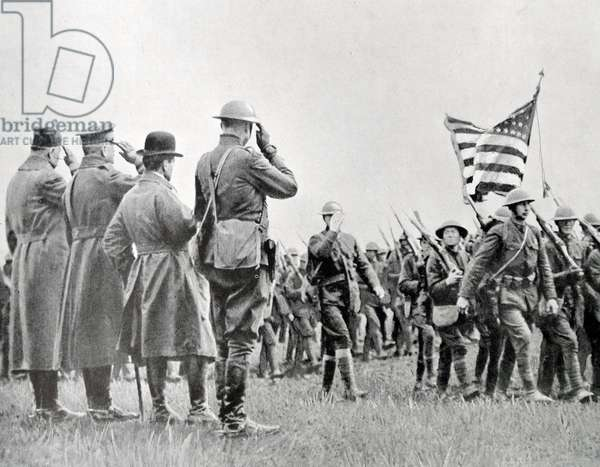 General Pershing reviews soldiers of the United States Army, 1918