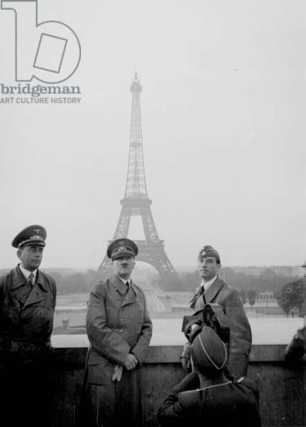 Adolf Hitler in Paris, France, June 1940, the Eiffel tower in the background. Paris was occupied by German forces on 13 June 1940.