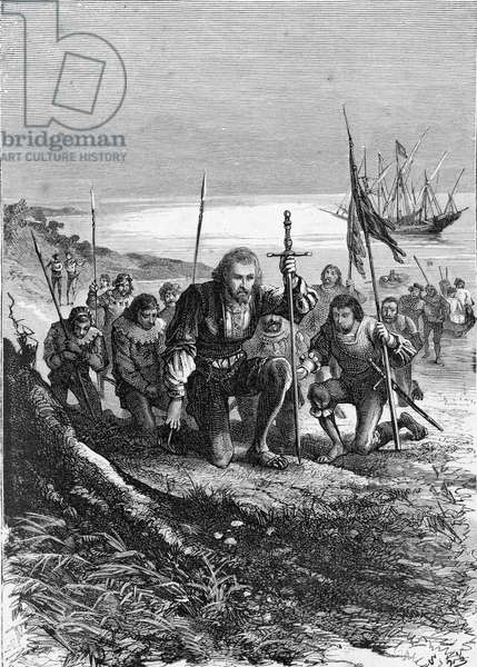 The new world, the discovery of the Americas: The landing of Christopher Columbus