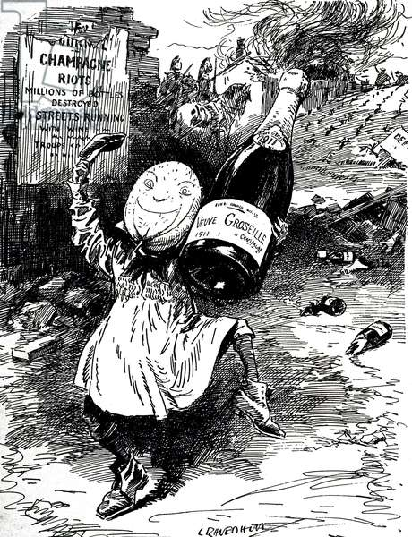 A cartoon commenting on the great year for homemade wines - riots in the Champagne district, 20th century