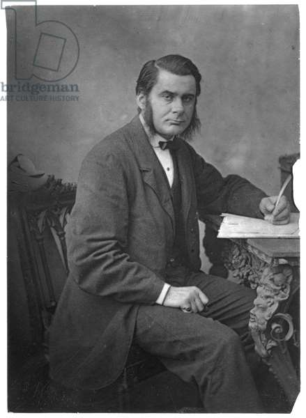 Thomas Henry Huxley (1825-1895) British biologist, supporter of Darwin and evolution. Grandfather of Julian and Aldous Huxley. From The Popular Science Review, London, April 1866. Woodburytype.