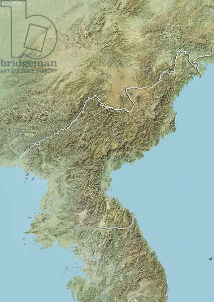 Relief map of North Korea (with border). This image was compiled from data acquired by LANDSAT 5 & 7 satellites combined with elevation data ©Planet Observer/UIG/Leemage