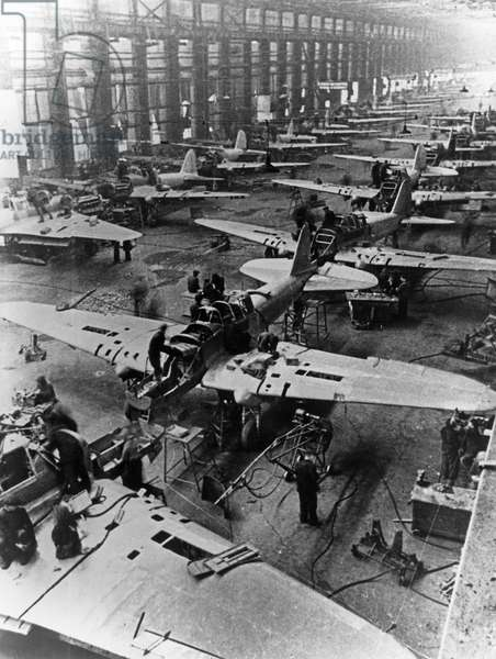 Il-2 Sturmovik Attack Aircraft Being Built at a Factory in the USSR During World War Ll.