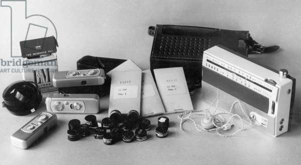 Penkovsky-Wynne Spy Trial, May 1963, a Sanyo Portable Transistor Radio, Minox Cameras, Film, and Code Books Received by Penkovsky from the British and American Intelligence Services.