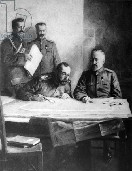 Tsar Nicholas II of Russia with Grand Duke Nicholas, 1915