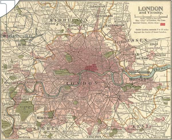 Map of London and Vicinity, 1902