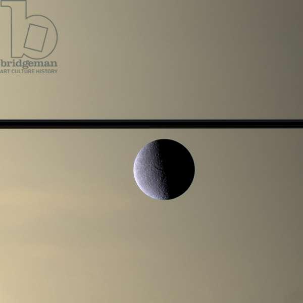 The Cassini spacecraft looks toward Rhea, Saturn's second-largest moon