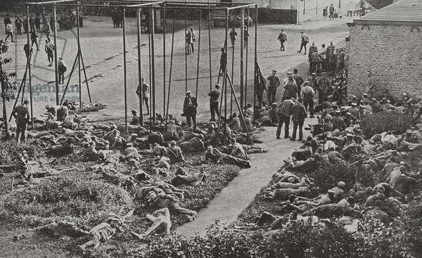 German prisoners of war captured at the Belgian barracks at Bruges. World War One, Belgium 19140101