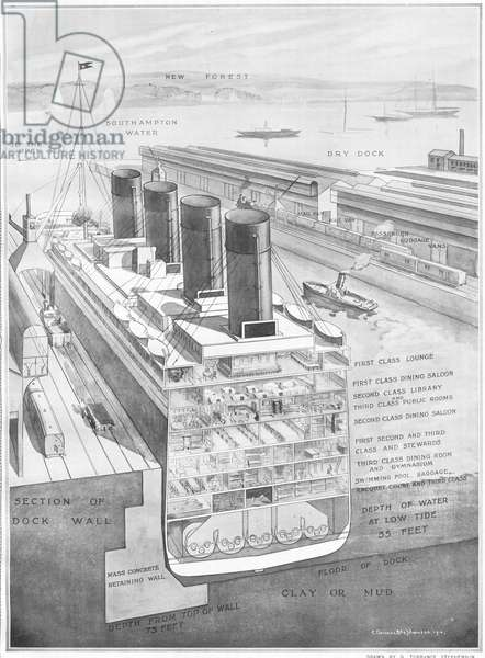 Titanic, cross-section, illustration from 'The Sphere' newspaper, 20th April, 1912 (litho) (see also 450772)