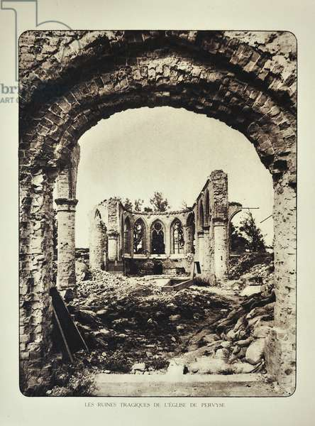 Ruined church at Pervijze after bombardment in Flanders during the First World War, Belgium ©UIG/Leemage