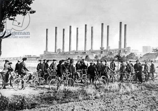 German Miners On Strike (b/w photo)