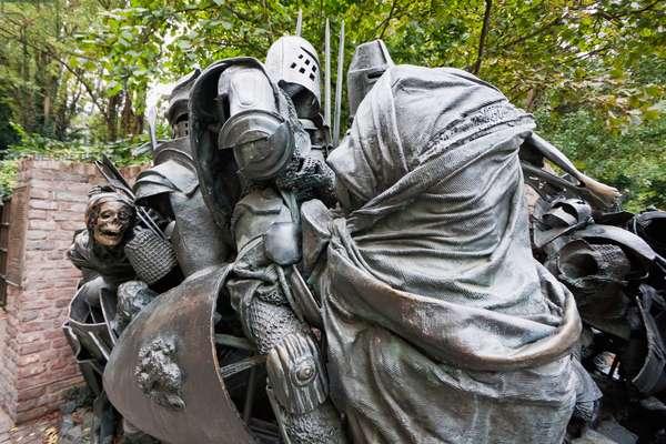 Sculpture Depicting the Worringen Battle Dusseldorf, North Rhine-Westphalia, Germany (photo)