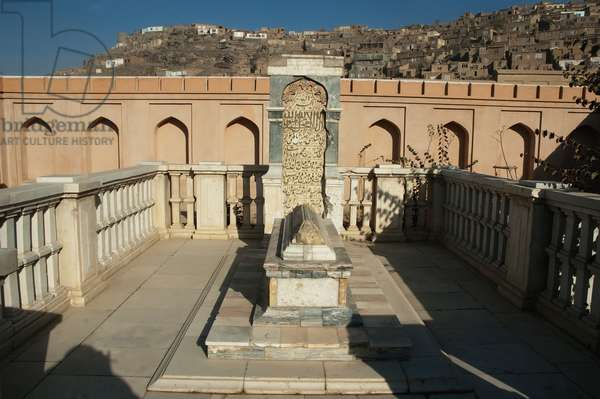 Babur's Tomb With the Original Headstone and A New Marble Fence After the Restoration of Bagh-I-Babur Shah (Babur's Garden), Kabul, Afghanistan (photo)