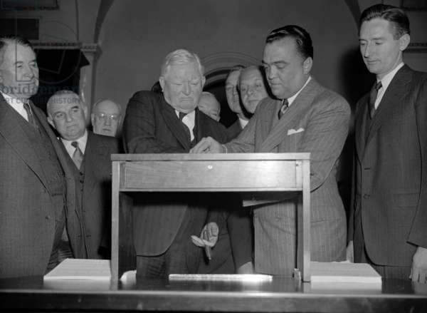 J. Edgar. Hoover 1895-1972. Director of the FBI (Federal Bureau of Investigation), from 1924-1972. Seen With Vice President John Garner 19390101