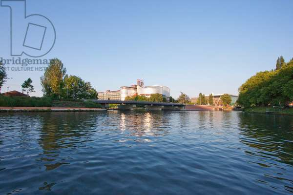 The European Court of Human Rights on the Banks of the Ill River, Strasbourg, France (photo)
