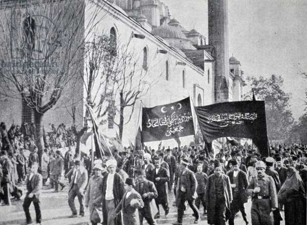 Proclamation of War, World War One, 1914, Constantinople, Turkey.