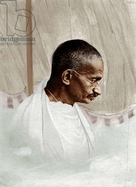 Mohandas Karamchand Gandhi dit Mahatma Gandhi (1869-1948), leader politique et spirituel indien, vers 1929 - Mahatma Gandhi, c. 1929. ©Dinodia/Uig/Leemage