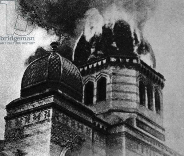 The Eberswalde synagogue in Berlin, is destroyed during Kristallnacht