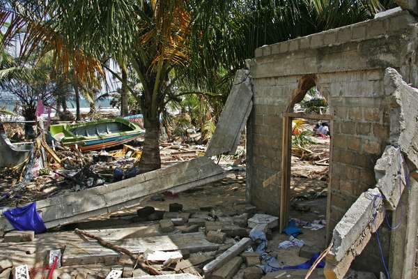 Except for a few walls that stand in isolation, buildings near the shore in Trincomalee had been totally destroyed by the Indian Ocean tsunami in 2004. Sri Lanka. January 2, 2005.  (photo)
