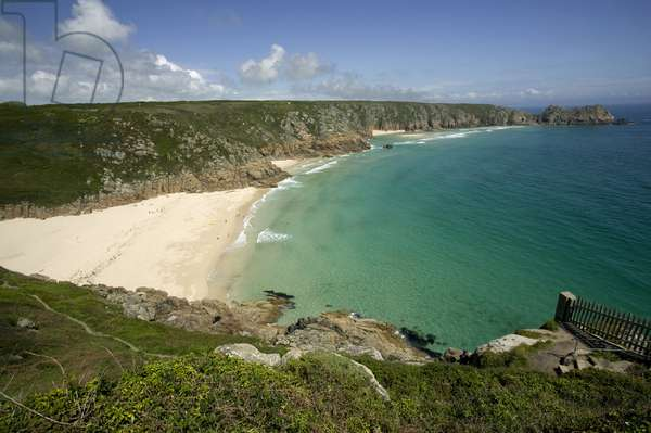 Great Britain, England, Cornwall, near Porthcurno, view of bay with sandy beach