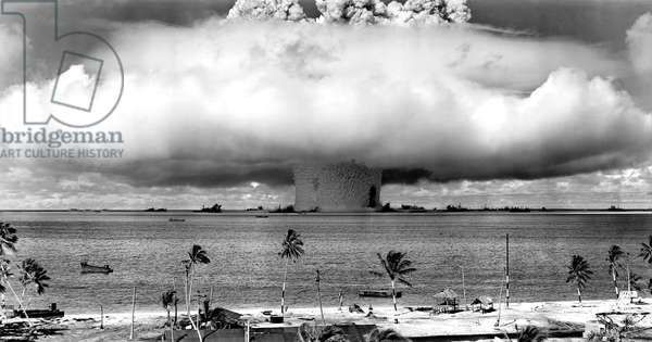 United States detonating an atomic bomb at Bikini Atoll in Micronesia in the first underwater test of the device, 1946.