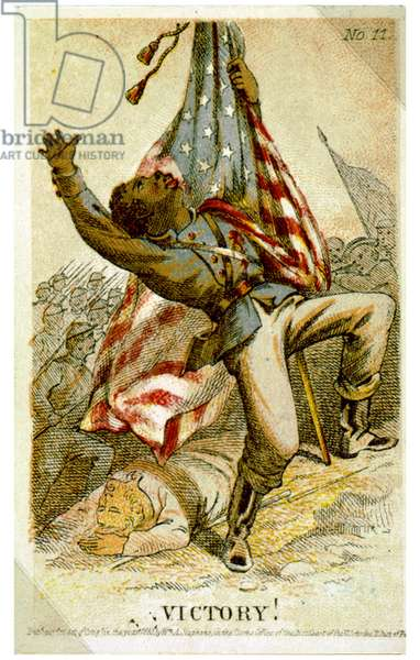 African American soldier carrying U.S. flag being shot in battle during the American civil War