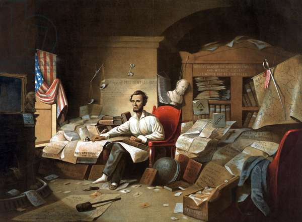 President Lincoln writing the Proclamation of Freedom, l January 1863. Lithograph after painting by Blythe.  A bust of Lincoln's Unionist predecessor Andrew Jackson is on the mantelpiece. James Buchanan's with rope round its neck hangs from the bookcase.