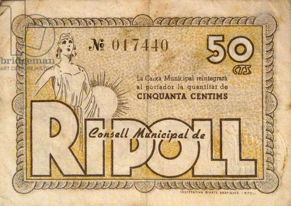 Banknote issued during the Spanish Civil War
