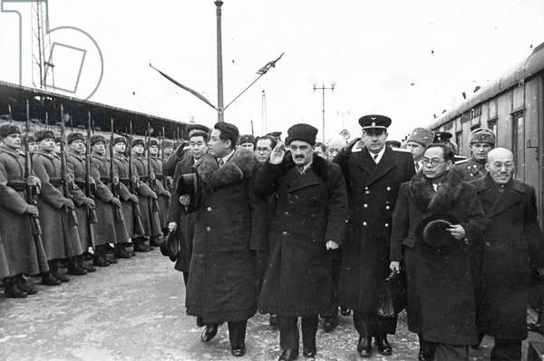 The North Korean Government Delegation Passing the Honor Guard at Yaraslavl Station Upon their Arrival in Moscow, 1949(?), (Left to Right: Kim Il Sung, A. I. Mikoyan, A. A. Gromyko, Pak Heun Yung (Pak Hen Yen).