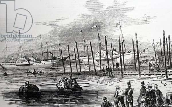 The launch of the paddle steamers 'Windsor' and 'Ajax', 1850