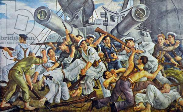 Spanish Civil War: 'Mutiny on the battleship Spain' by J. Valverde. In July 1936 the Espana, by then a decrepit ship, was in reserve at El Ferrol with a reduced complement. The battleship was seized by the nationalists after a Republican attempt to defend her