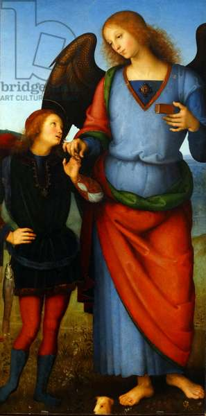 Detail from the painting titled 'The Virgin and Child with an Angel, the Archangel Raphael with Tobias and the Archangel Michael'