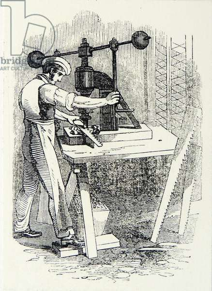Saw making: cutting out the teeth of a steel saw, Sheffield, England. Engraving, London, 1844.