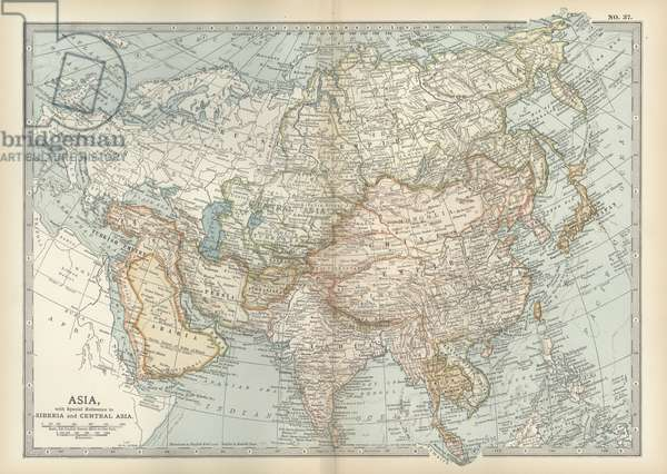 Map of Asia with Siberia and Central Asia