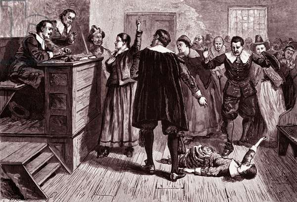 Witchcraft trial, 1876 (engraving)