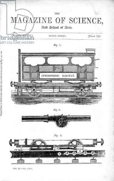 Samuel Clegg Jnr (1814-1856) and Joseph Samuda's (1813-1885) atmospheric railway. This was the system adopted on the Croydon Atmospheric Railway, the Kingstown and Dalkey (Dublin), the Paris and St. Germain, and the South Devon railways. The railway operated without locomotives, using air pressure instead to push freight cars along the rails. From The Magazine of Science. (London, 1845). Wood engraving.