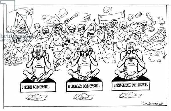 Mohondas Karamchand Gandhi  (1869-1948), known as Mahatma (Great Soul). Indian Nationalist leader. Cartoon by George Strube from Daily Express, London, 30 April 1930, during Gandhi's salt fast.