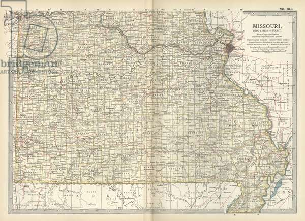 Map of the southern part of Missouri