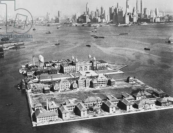 Aerial Of Ellis Island, New York, New York, October 18, 1933 (b/w photo)