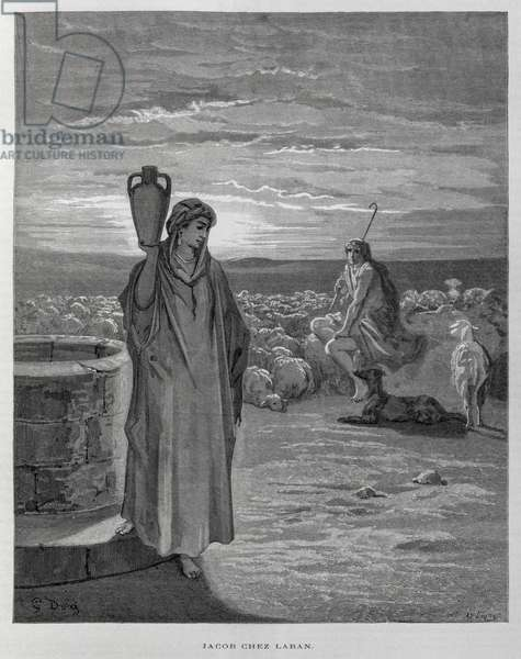 Jacob sees Rachel at the well of Laban's home, Illustration from the Dore Bible, 1866
