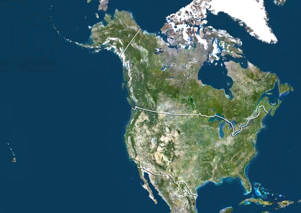 United States and Canada, True Colour Satellite Image With Border