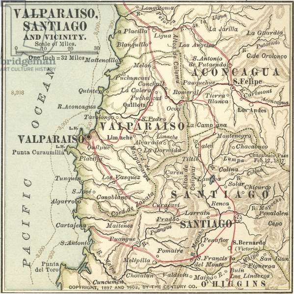 Map of Valparaiso and Santiago
