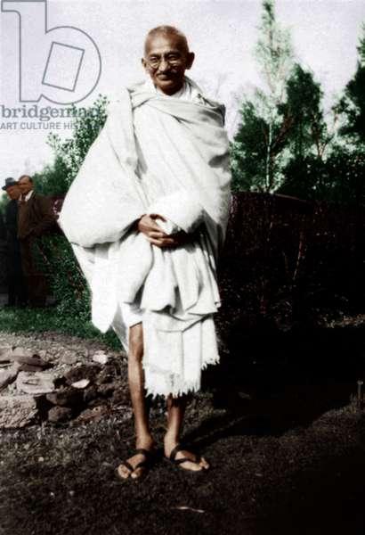 Mohandas Karamchand Gandhi dit Mahatma Gandhi (1869-1948), leader politique et spirituel indien a Boar's Hill, Oxford, octobre 1931 - Mahatma Gandhi at Boar's Hill, Oxford, UK, October 1931. ©Dinodia/Uig/Leemage
